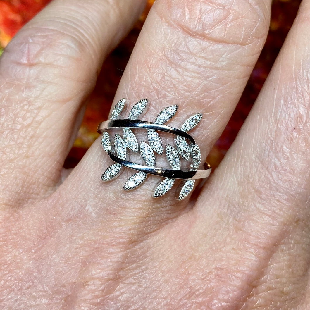 Silver CZ Feather Ring