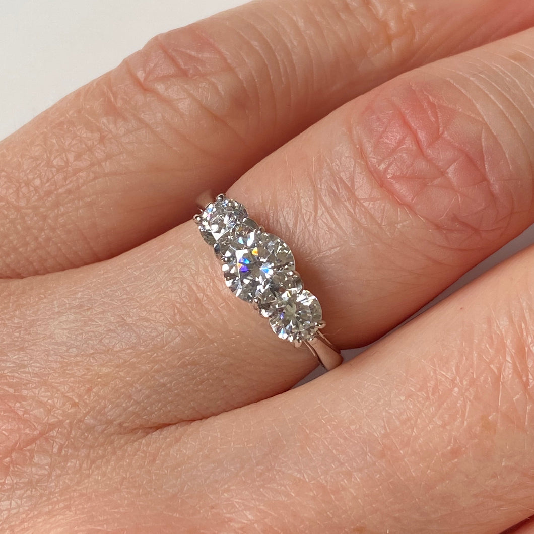9ct White Gold CZ Trilogy Ring