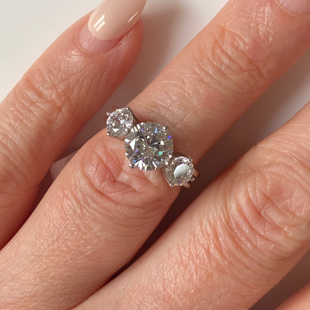 Silver CZ Trilogy Ring