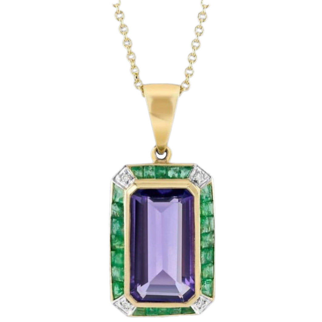 9ct Gold Amethyst, Emerald & Diamond Pendant Necklace