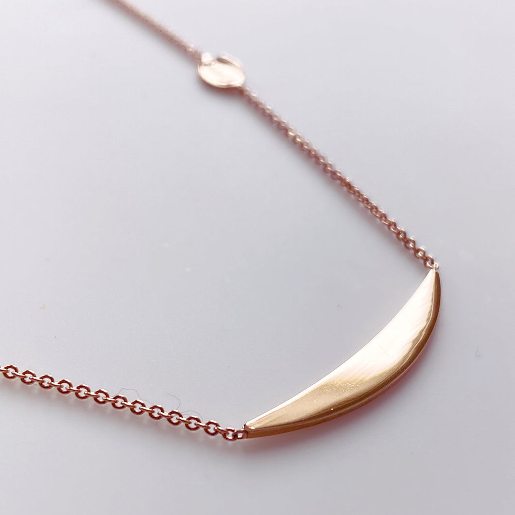 9ct Rose Gold Crescent Disc Necklace