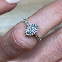 Load image into Gallery viewer, 18ct White Gold Marquis Halo Diamond Engagement Ring 0.47ct