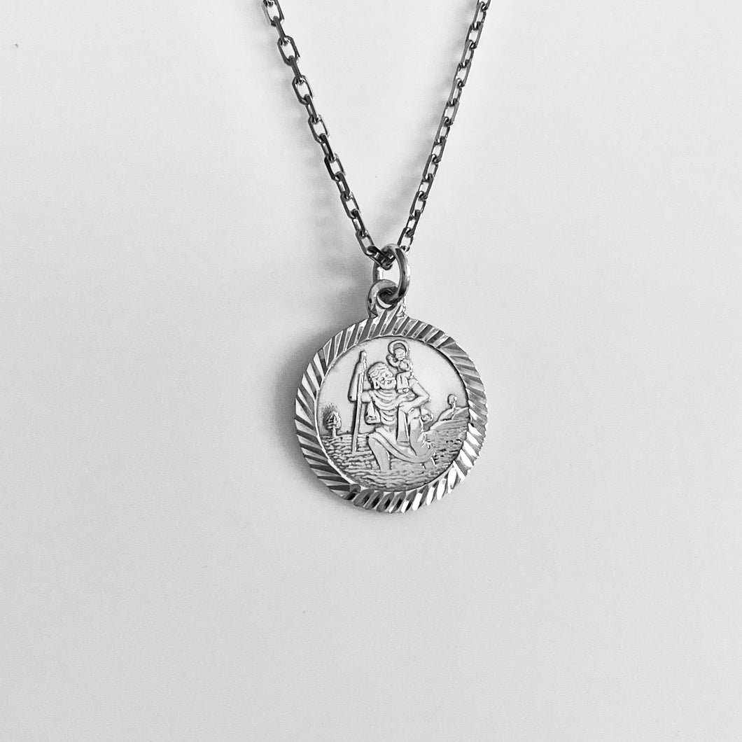 Silver St Christopher Medal Pendant and Chain