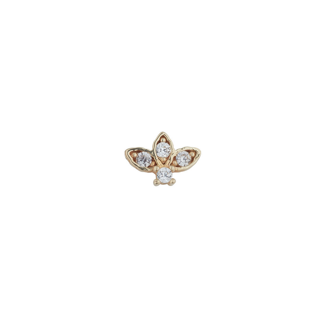 Ear Candy 9ct Gold CZ Lotus Cartilage Stud