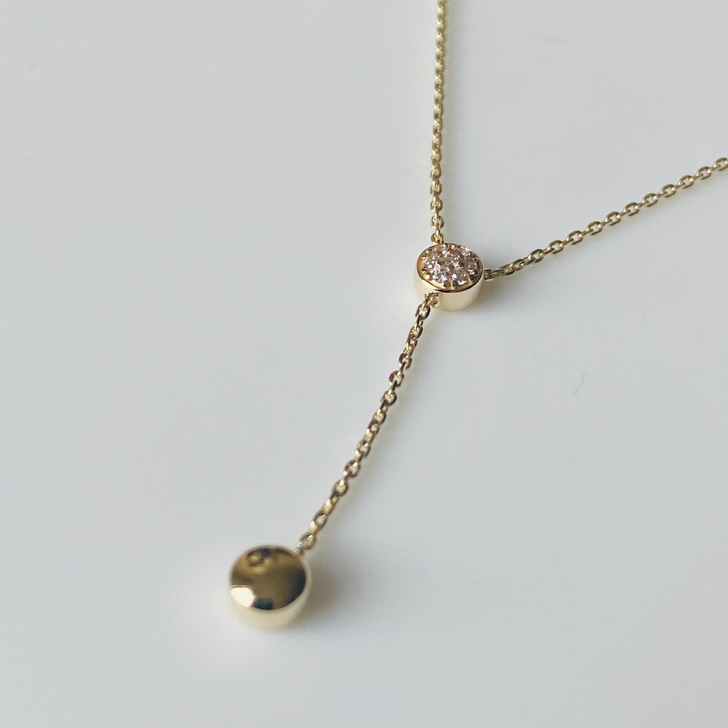 9ct Gold CZ Lariat Necklace