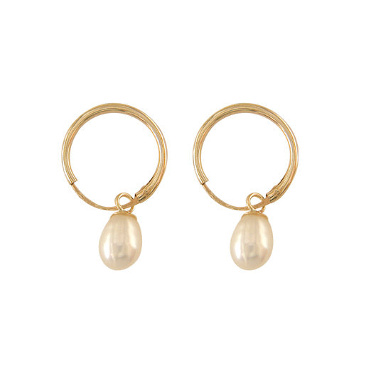 9ct Gold Pearl Sleeper Earrings