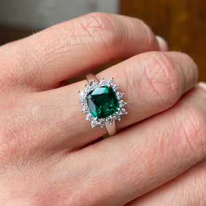 9ct White Gold Created Emerald & CZ Ring