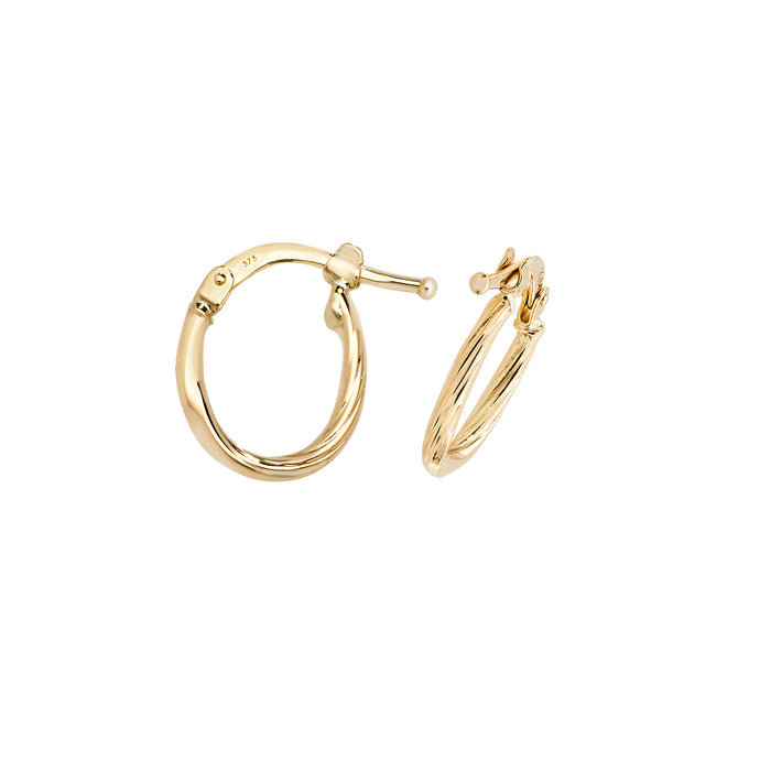 9ct Gold Classic 12mm Twist Hoop Earrings