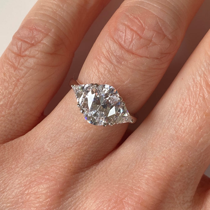 Silver CZ Oval|Trilliant Trilogy Ring