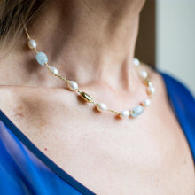 Load image into Gallery viewer, 18ct Gold Silky Aquamarine and Cultured Freshwater Pearl Chain Necklace Pearl dimensions: 10mm x 8mm approximately Silky Aquamarine dimensions: 12mm x 10mm approximately 43cm long 18ct yellow gold This item can be ordered in a variety of lengths.  Please contact us for custom requirements.