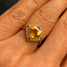 Load image into Gallery viewer, 9ct Gold Citrine & Diamond Ring