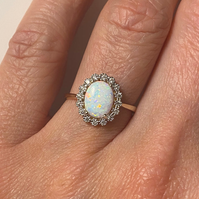 9ct Gold Oval Opalique CZ Ring