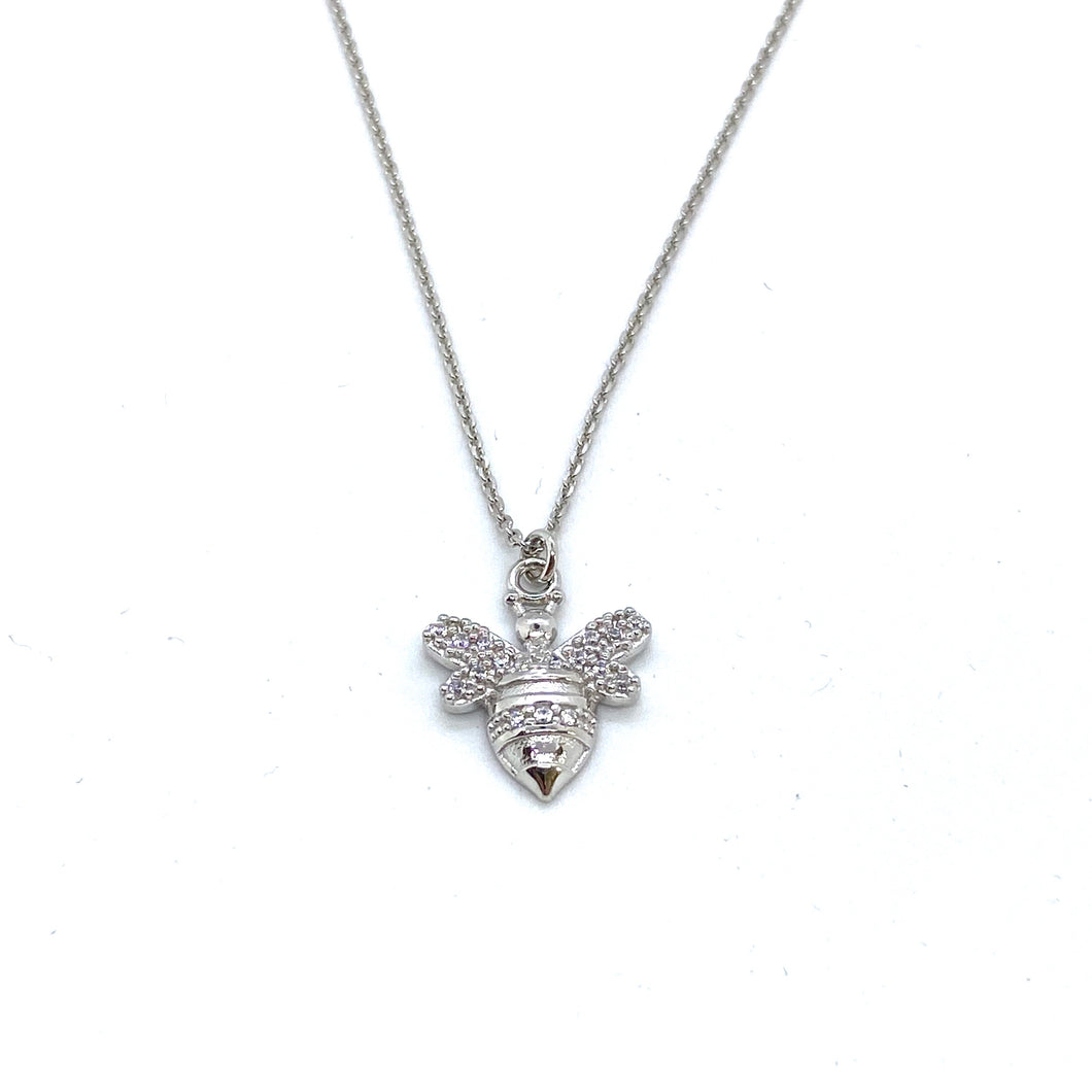 SUNSHINE CZ Bee Necklace - Silver
