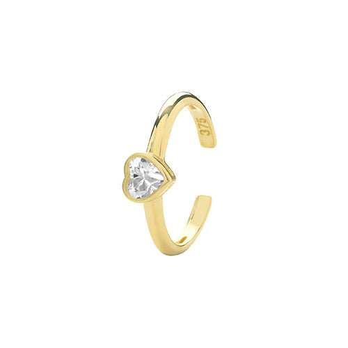 Ear Candy 9ct Gold Heart CZ Ear Cuff