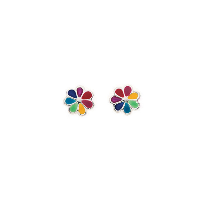 Rainbow Wheel Stud Earrings
