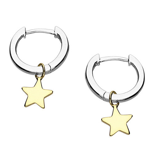 Sunshine Star Charm Huggie Earrings Silver/Gold