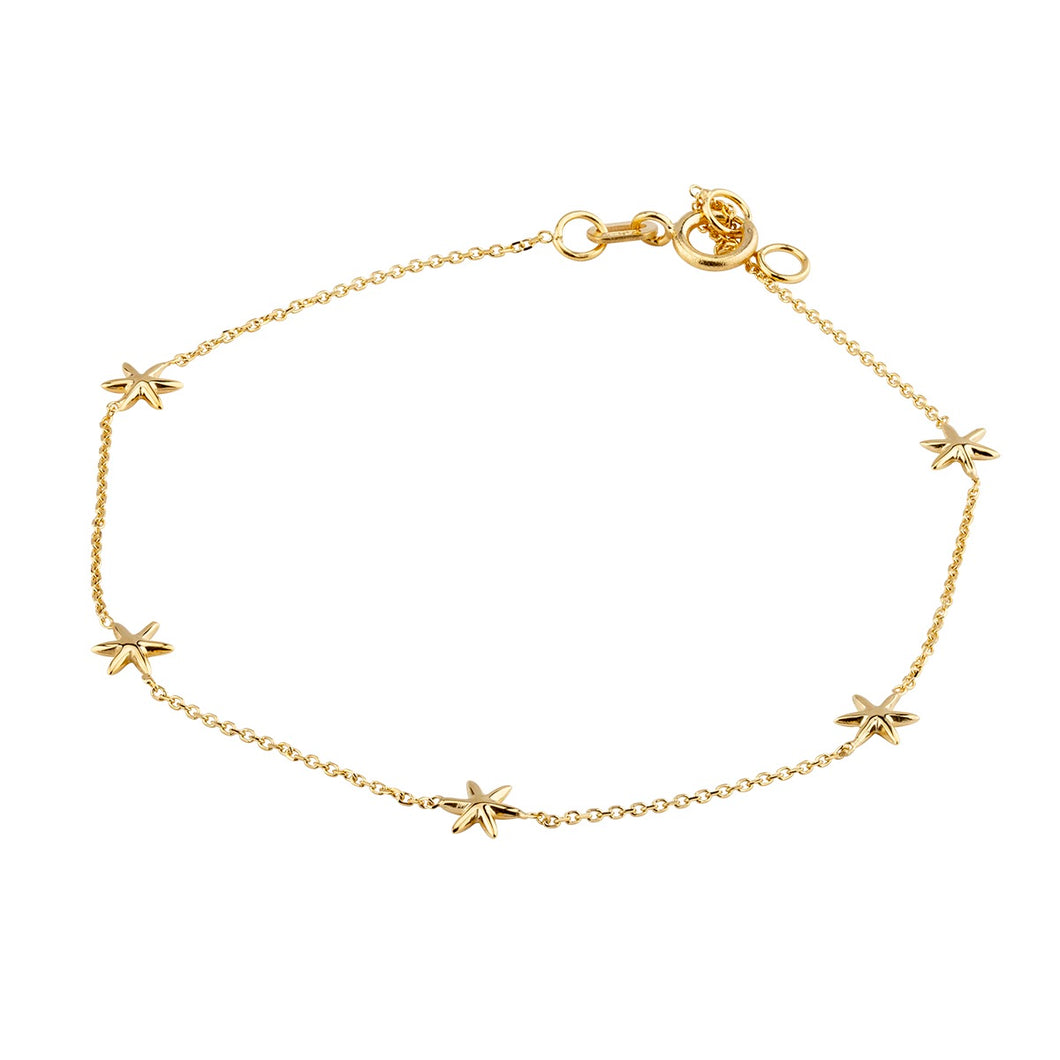 9ct Yellow Gold Five Stars Bracelet