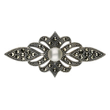 Load image into Gallery viewer, Silver Vintage Marcasite & Cfwp Bar Brooch