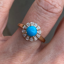 Load image into Gallery viewer, 9ct Gold Turquoise & Diamond Ring
