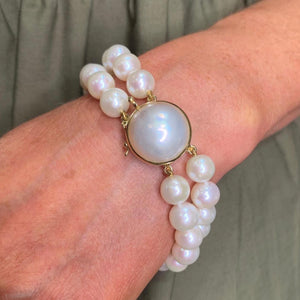 18ct Gold Mabe & Cultured Freshwater Pearl Two Row Bracelet