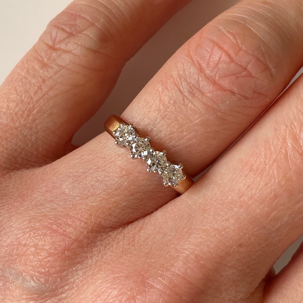 9ct Gold CZ Four Stone Ring