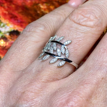 Load image into Gallery viewer, Silver CZ Feather Ring
