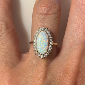 9ct Gold Elongated Oval Opalique CZ Ring