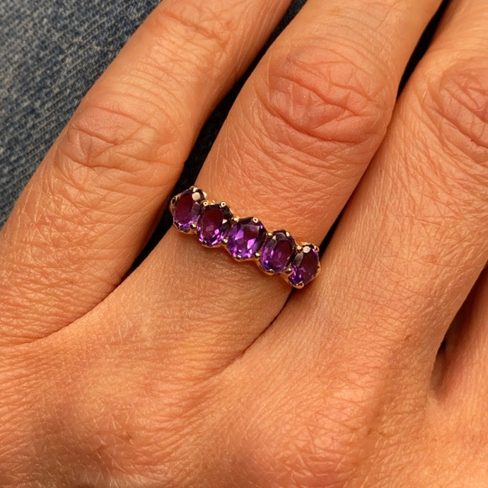 9ct Gold Amethyst Dress Ring - Five Stone