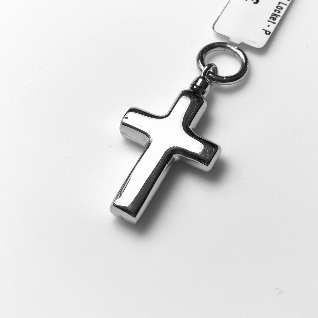 Silver Polished Cross Ash Locket and Chain