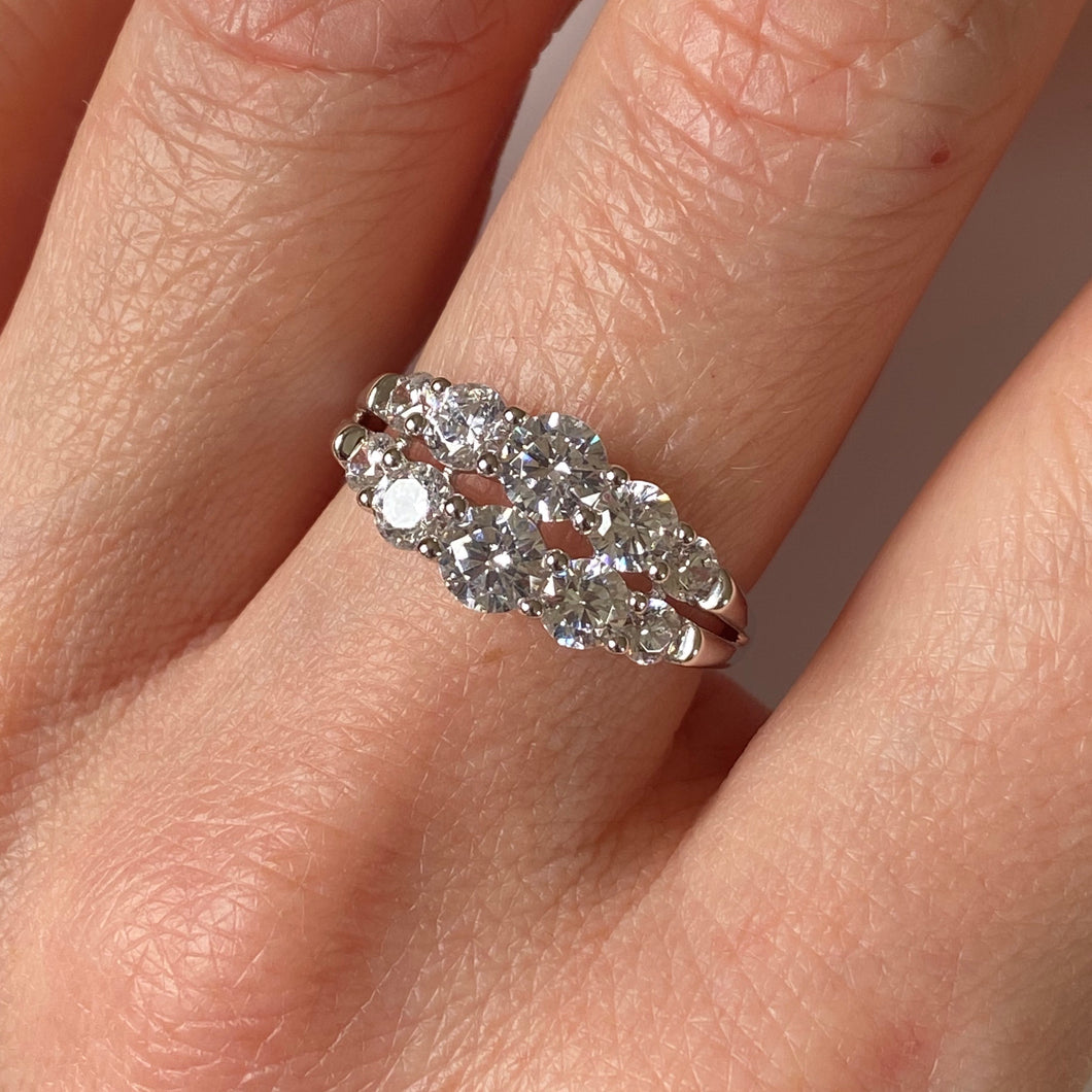 Silver CZ Two Row Ring