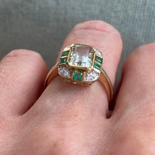 Load image into Gallery viewer, 9ct Gold Green Amethyst, Emerald & Diamond Ring