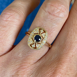 9ct Yellow Gold Sapphire & Diamond Ring