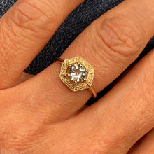 Load image into Gallery viewer, 9ct Gold Aquamarine & Diamond Dress Ring - Hexagon Shape