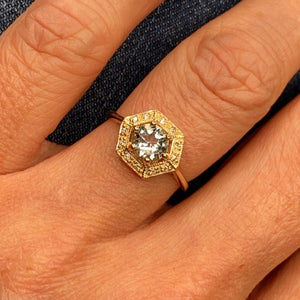 9ct Gold Aquamarine & Diamond Dress Ring - Hexagon Shape
