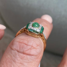 Load image into Gallery viewer, 9ct Gold Jade, Emerald & Diamond Ring