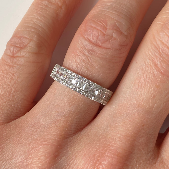 Silver CZ Band Ring