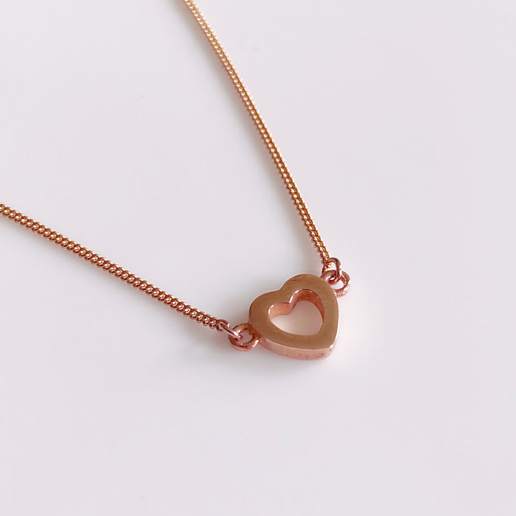 9ct Rose Gold Open Heart Necklace