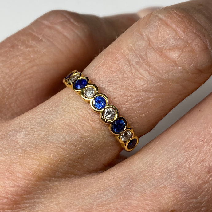 18ct Gold Sapphire & Diamond Eternity Ring