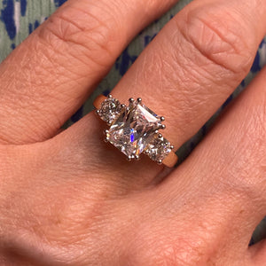 9ct Gold Trilogy Radiant CZ Ring