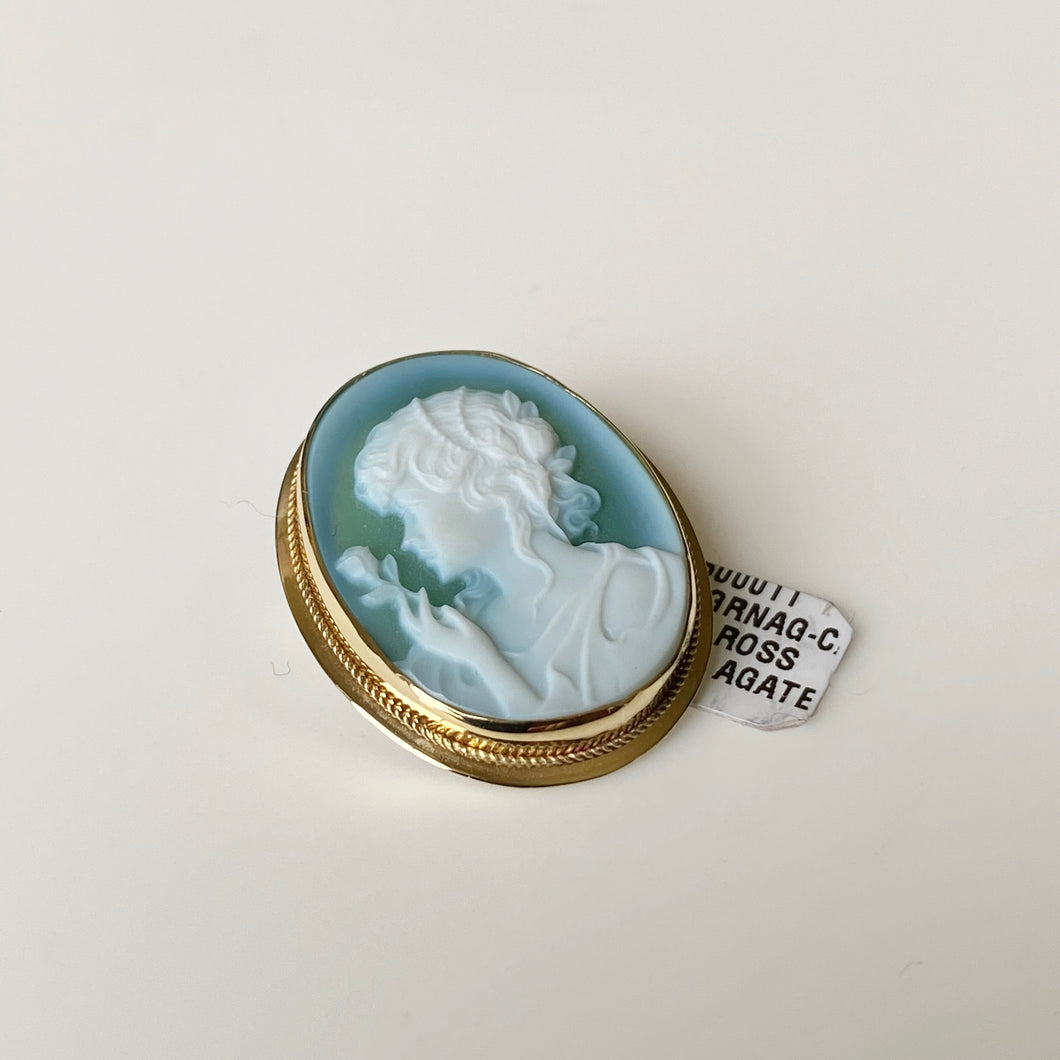18ct Gold Green Agate Lady Cameo Brooch/Pendant - Medium