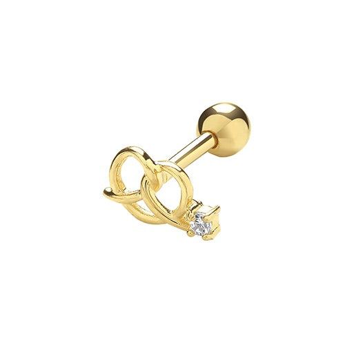 Ear Candy 9ct Gold CZ Loveknot Cartilage Stud