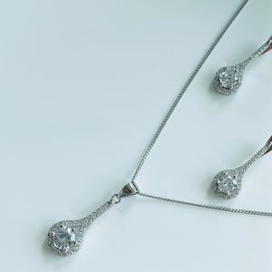 Silver CZ Drop Halo Earring and Necklace Set