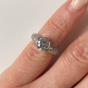 Silver CZ Solitaire Ring - Size I