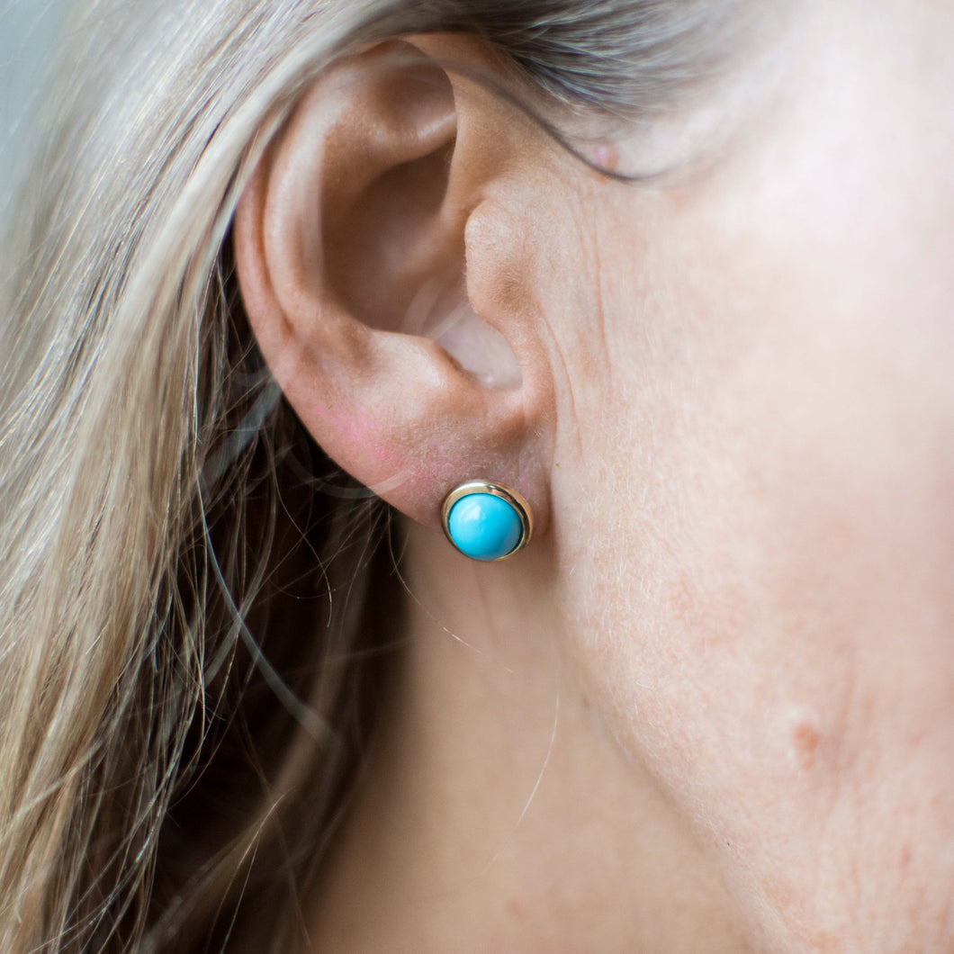9ct Gold Round Turquoise Stud Earrings