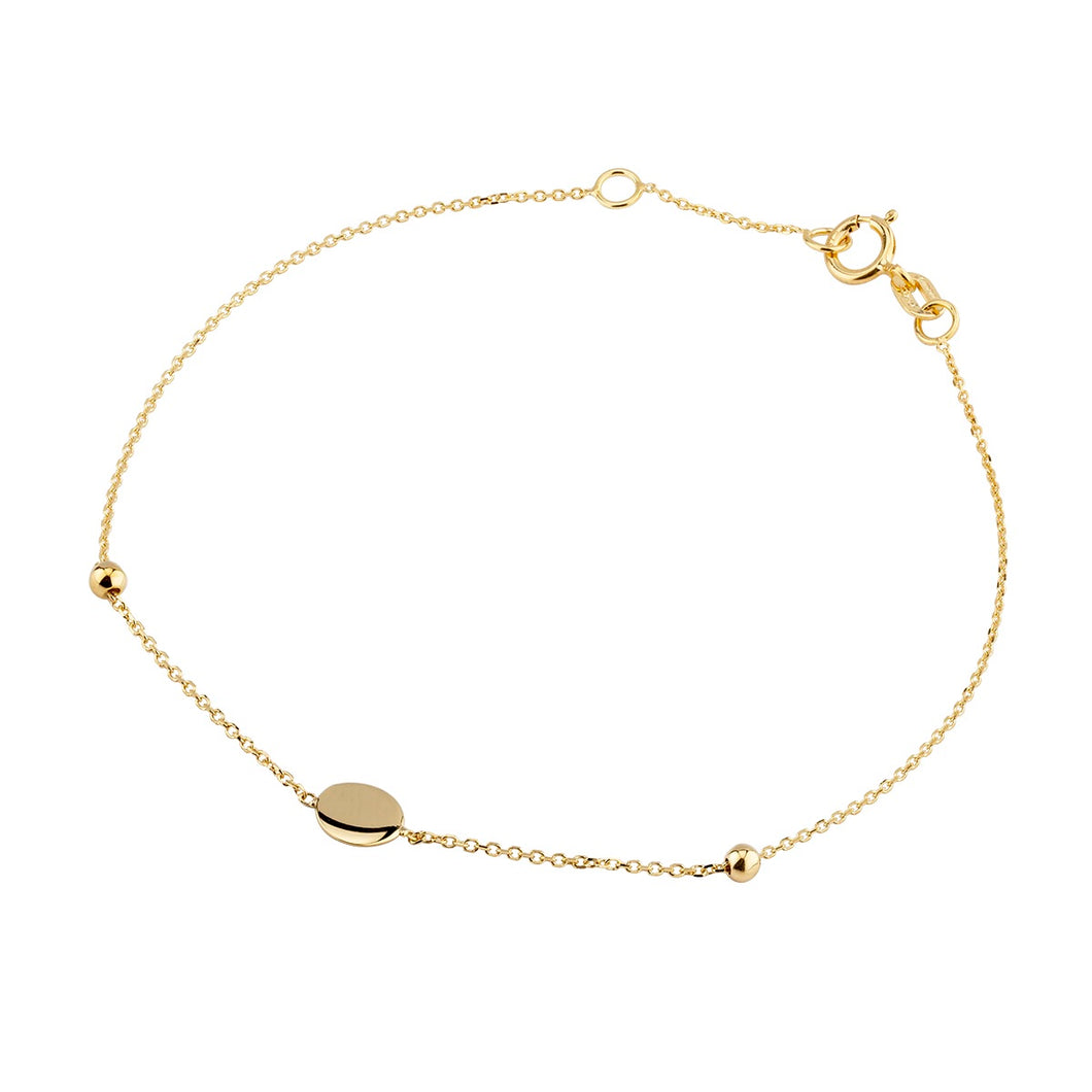 9ct Yellow Gold Disc & Beads Bracelet