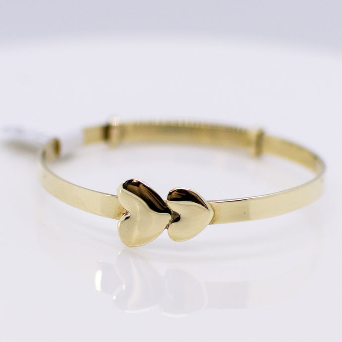 Kids 9ct Gold Hearts Bangle