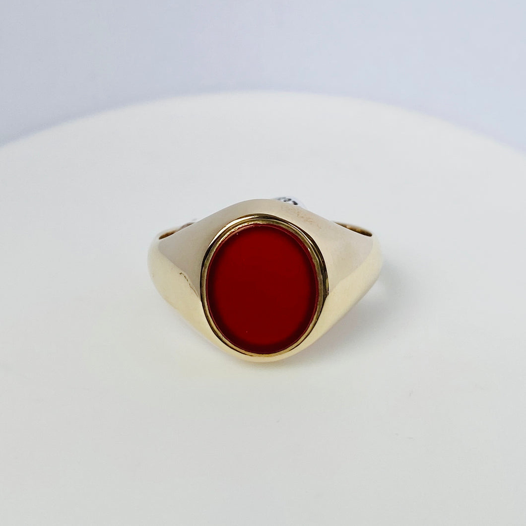 9ct Gold Gents Carnelian Ring  - Oval