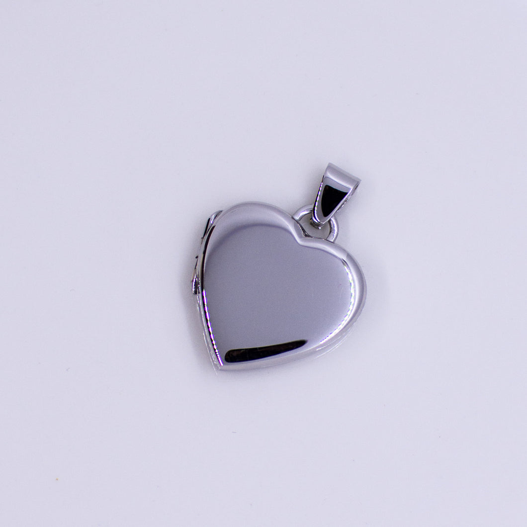 Silver Polished Heart Locket and Chain