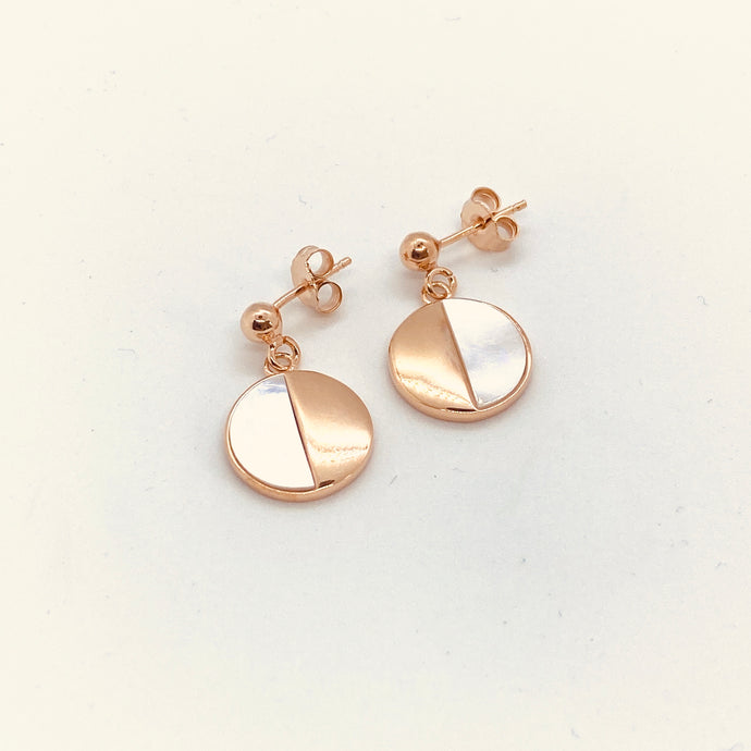 Rose Mother of Pearl Round Drop Earrings