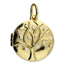 Load image into Gallery viewer, Sunshine CZ Tree of Life Round Locket and Chain